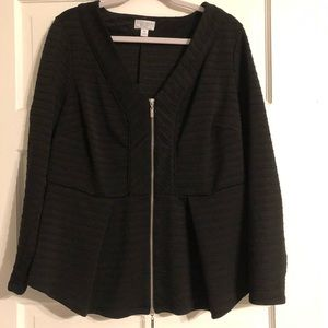 Bisou Bisou Black Peplum Zip-Up Jacket - 0X